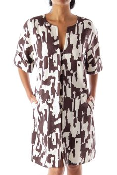 Like this Trina Turk coat? Shop this without using money! Trade. Shop. Discover. #fashionexchange #prelovedfashion  B&W Print Short Sleeve Coat by Trina Turk