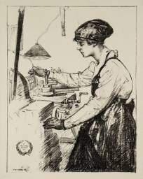 'Women's Work: On Munitions - Heavy Work (Drilling and Casting)', Archibald Standish Hartrick | Tate