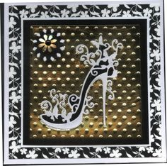 Tattered Lace Shoe Card Gold Black and White. The contrast of the black, white and gold gives this beautiful card so much texture and interest. 21 Cards, Tattered Lace Cards, Birthday Cards For Women, Spellbinders Cards, Dress Card, Scrapbook Cards, Scrapbooking, Embossed Cards, Die Cut Cards