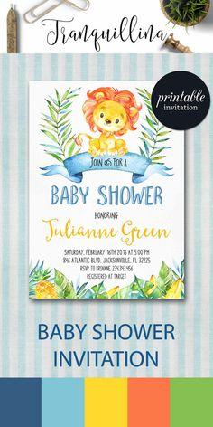 Jungle Baby Shower Invitation Printable, Lion Baby Shower Invitation, Printable Baby Shower Invitation, Boy Safari Baby Shower Invitation. tranquillina.etsy.com