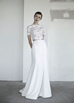 """OUI The Label 2017 Wedding Dresses — """"New Romantics"""" Bridal oui the label 2017 bridal short sleeves jewel neck heavily embellished bodice crop top 2 piece fit and flare wedding dress covered lace back sweep train mv — OUI The Label 2017 Wedding Dresses Bridal Dresses, Wedding Gowns, Bridal Separates, Fit And Flare Wedding Dress, Sweet Dress, Bridal Lace, Bridal Looks, Beautiful Dresses, Marie"""