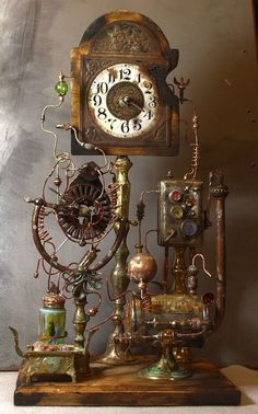 Steampunk furniture design ideas from cool to crazy. What do you think of Steampunk? What comes to mind is probably a cosplay girl in a leather corset and a circular skirt. The Steampunk furniture concep. Chat Steampunk, Steampunk Kunst, Style Steampunk, Steampunk Clock, Steampunk Gadgets, Steampunk House, Steampunk Design, Steampunk Fashion, Steampunk Makeup