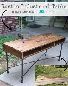 Learn to make your own beautiful Rustic Industrial Table with reclaimed fence wood and metal legs, MyLove2Create