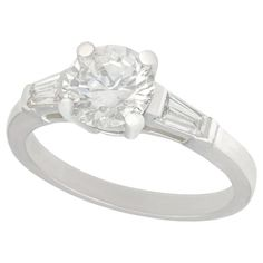 Engagement Ring Types, Yellow Diamond Engagement Ring, Platinum Engagement Rings, Solitaire Engagement, Vintage Diamond, Vintage Rings, Sapphire Solitaire Ring, Baguette, Jewelry Rings