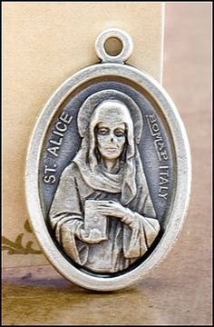 Blessed By Pope Francis St Alice Patroness of Those with Paralysis Pray for Us Medal Silver Oxidized. Pray for us - Italy in back of the medal - size - about 3/4 of an inch. Blessed by Pope Francis. Silver Oxidized Saints Medals come on a convenient jump ring, ready for a stainless steel chain. -- Silvertone. Made in Italy, this medal will never rust. Beautiful keepsake for years to keep.