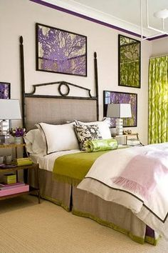 Purple and green bedroom; maybe Joe and I  can agree on this...