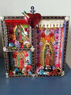 Mexican shrine Our Lady of Guadalupe Shadow box - The Virgin Mary shrine or altar piece / Rainbow colorful / Mexican folk art