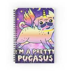 I'm a Pretty Pugasus Spiral Notebooks ❤ liked on Polyvore featuring home, home decor, stationery, notebook, pug and school