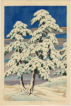 """Clearing after a Snow in the Pines"" by Hasui, Kawase"