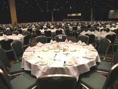 Banquet set-up at the The Mississippi Coast Convention Center in Biloxi, Mississippi.