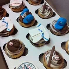 Toronto bluejays cupcakes for a little boy on his 7th birthday!
