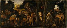 a hunting scene by Piero di Cosimo  (Italian, Florence 1462–1522) The principal inspiration was the fifth book of the De Rerum Natura by the Epicurean poet and philosopher Lucretius (ca. 99–55 BC).