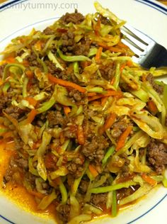 I've made this quick stirfry both for breakfast and for dinner. It takes about 10 minutes or so to cook and is full of protein and veggies. I use a marinara sauce that is made without sugar. I like to leave the veggies a little crisp so I don't cook them until totally soft. Quick Ground Beef Stirfry Ingredients 4 ounces lean ground beef a handful of coleslaw mix a handful of broccoli slaw mix 1/2 cup marinara sauce salt and pepper to taste Heat a skillet to medium heat then add the ground beef and fry until browned. Add