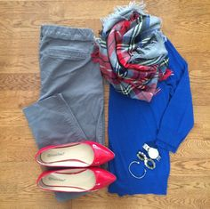 Pullover sweater print scarf neutral colored pants bright flats bracelet stack