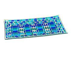 Plato rectangular de cristal - azul