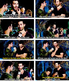 teen wolf - tyler hoechlin and posey talk the big five. Hahahaha the indigenous Tyler Posey