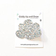 Felt Hair Clips - Silver Cloud Glitter Hair Clips for little girls