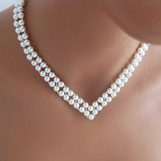 Vintage V Shape Wedding White Pearl Necklace(1 Pc) – RUB p. 461,14