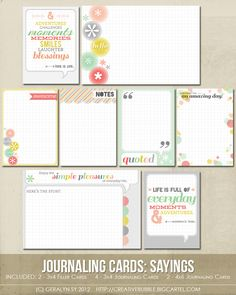 journaling cards - sayings. my favorite set :) (las tarjetas grandes son 4x6) $3.99