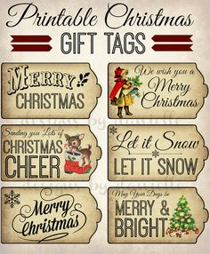 Print as many of these vintage style Christmas tags as you like!    With this INSTANT DOWNLOAD you will receive 6 different Christmas tags in