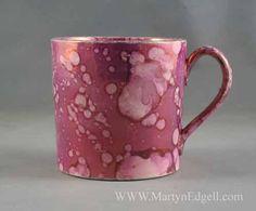 Splash pink lustre mug, circa 1820
