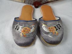 Chinese Slippers-Vintage Chinese Silk Slippers with Pheasants-Woman Size 10 Shoes by BCScollectibles on Etsy