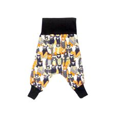 Harem pants for babies and toddlers. Funky prints in cotton, cord, fleece and wool.