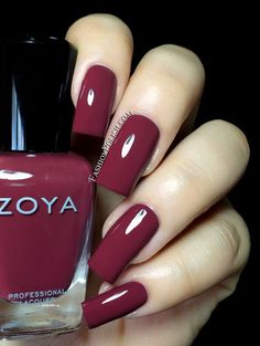 Zoya Naturel Deux (2) Aubrey - deep warm plum creme - Love the color, length, shape, high gloss! So pretty.: