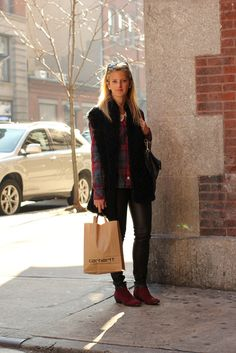 Leather, plaid, and fur