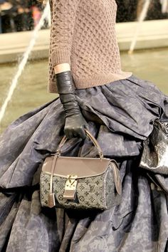 Fashioned beyond #Gorgeous, love it all, #skirt,bag,gloves,sweater....brilliant styling