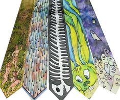 Hand painted funny Silk Tie one-of-the-kind and by ArtSilkTies