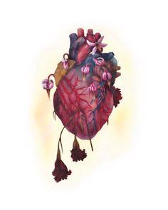 """5 x 7 """"impresión de la pintura original""""Alas! Para mi pobre corazón """"-arte, corazón floral, anatomía,"""
