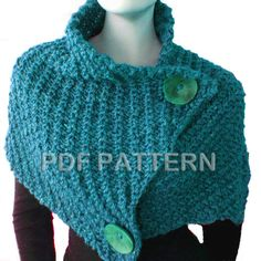 PDF KNITTING PATTERN  Giant Retro Cowl by PatriciaCantosDesign