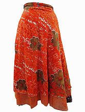 Easy Breezy Silk Sari Wrap Skirt Orange