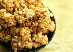 PEANUT BUTTER POPCORN  Make it healthier:  Air-pop 1/2 C organic popcorn. Set aside. Bring to a boil:  1C Agave nectar & 1 C organic brown sugar.  Boil for a few minutes, add a pinch of cinnamon.  Add & mix well 1 C  organic (no salt) 100% peanut butter (used a stick blender for nice creamy texture); pour over popcorn; stir to mix on a cookie sheet.  Place into a 225 degree oven & stir every 15 min for an hour.  Remove from oven and sprinkled with sea salt mixed with cinnamon (lightly)…