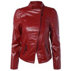 Zipped PU Motorcycle Jacket (56 BAM) via Polyvore featuring outerwear, jackets, zip jacket, pu biker jacket, red moto jacket, pu jacket and moto jacket
