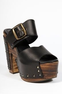 Urban Outfitters - Wood & Leather Black Platform Shoes - StyleSays