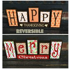 SALEReversible Christmas and Thanksgiving wood by jjnewton on Etsy