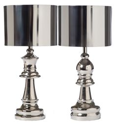 Chess Piece Lamps made of Nickel-Set Of Two #Chess #game #lamp #lighting #ProjectDecor #Design