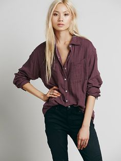 Free People Double Cloth Boyfriend Tunic at Free People Clothing Boutique