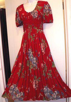 Jeffrey & Dara Red Aloha Print Floral Stretch Casual Cruise Luau DRESS Sm / Md