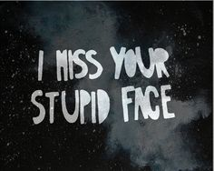 I miss your stupid face