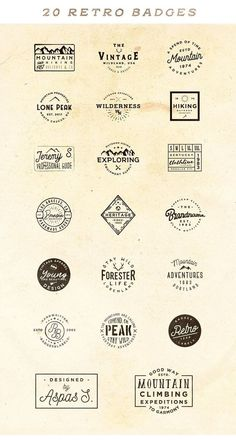 20 Minimal Retro Badges - Badges were created in typical vintage 20s - 80s style. They are perfect for branding projects, apparel design, t-shirt prints, social media, typography design, restaurant menus, labels, greeting cards and many more. Badges are fully editable and 100% vector (you may to edit all texts and stroke weight and scale badges as much you need without loosing sharpness). By Roman Paslavskiy $10 #logo #brand #branding #vintage #affiliatelink