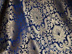 Navy blue gold weave brocade, banarasi silk fabric indian silk, bridal gown fabric, banarasi silk fabric by the yard - Fabric Crafts DIY New Wedding Dress Indian, New Wedding Dresses, Navy Blue Background, Gold Fabric, Brocade Fabric, Couture, Blue Gold, Gold Gold, Silk Dress