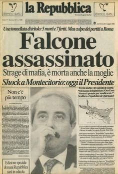 Newspaper Front Pages, Newspaper Cover, Newspaper Headlines, Giovanni Falcone, Trivia Of The Day, Zeus And Hera, Mafia Gangster, First Page, History Facts