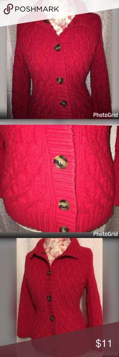 "NWOT CABLE KNIT WOOD BUTTONS SWEATER SZ MED THIS BEAUTIFUL CLASSIC CABLE KNIT SWEATER IS MADE BY LIZ CLAIBORNE AND HAS WOODEN BUTTONS GOING ALL THE WAY TO THE TOP TO CREATE A TURTLENECK IF WANTED!! IT IS A GORGEOUS SHADE OF RED AND IS A SIZE MEDIUM!!  *MEASUREMENTS ACROSS* LENGTH-24"" BUST-18"" WAIST-17"" HIPS-21"" WITH A GOOD STRETCH TO IT!! Liz Claiborne Sweaters Cardigans"