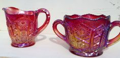 Vintage Indiana Carnival Glass Sugar & Creamer by BeboutsOrnaments, $34.00