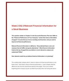 ACC561   ACC 561 (VERSION 4)   Week 2 DQ 2 Relevant Financial Information for a Small Business --> http://www.scribd.com/doc/141686231/acc561-acc-561-version-4-week-2-dq-2-relevant-financial-information-for-a-small-business