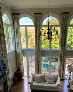 On Earth Day, enjoy the beauty of nature outside your windows. Our client decided to do all pinch pleat decorative panels in her living room so she can splendor the great outdoors. Drapery Styles, Decorative Panels, The Great Outdoors, Earth, Windows, Curtains, Living Room, Nature, Home Decor