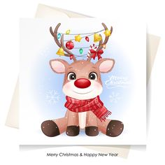 Cute deer for christmas with watercolor... | Premium Vector #Freepik #vector Merry Christmas Background, Merry Christmas Banner, Merry Christmas Greetings, Christmas Labels, Christmas Gift Box, Christmas Deer, Christmas Greeting Cards, Watercolor Cards, Watercolor Illustration